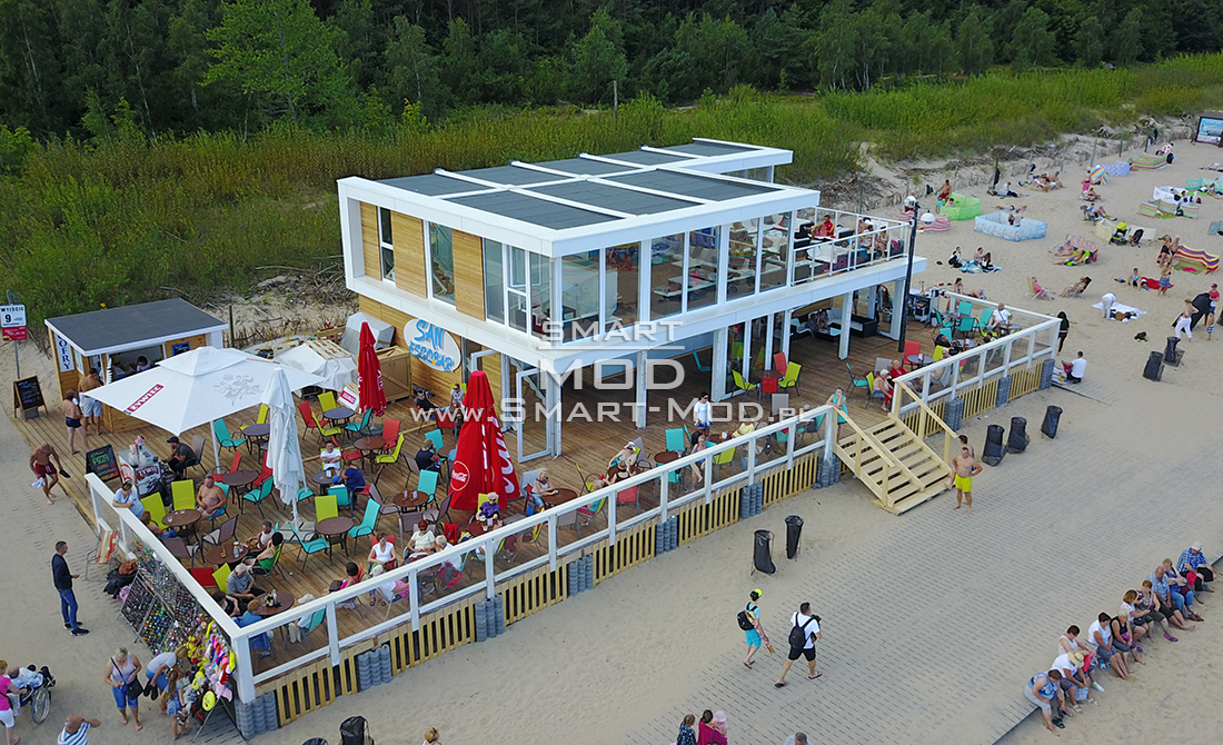 2 storey modular seasonal bar on the beach